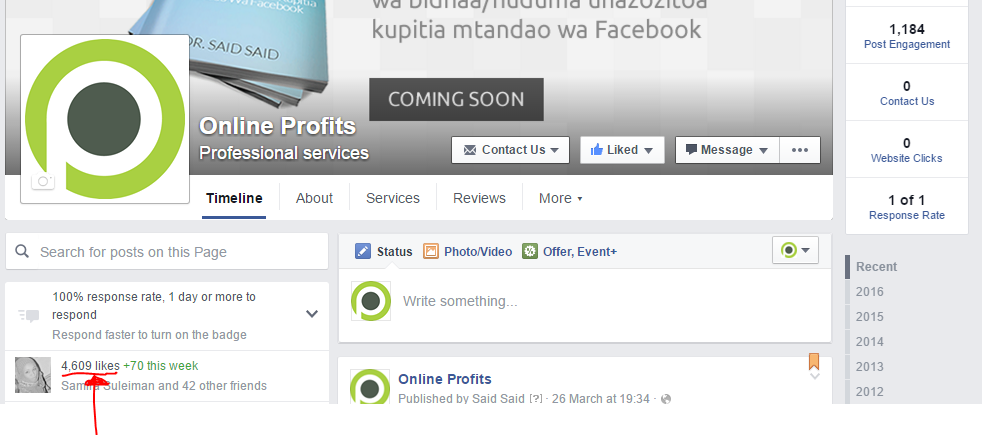Online Profits Facebook Page
